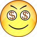 comic, dollar, emoji, emoticon, emotion, face, smile icon
