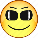 emoticon, emotion, face, smile, comic, glasses, emoji