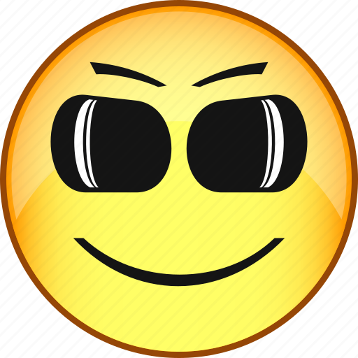 comic, emoji, emoticon, emotion, face, glasses, smile icon