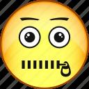 comic, emoji, emoticon, emotion, face, silence, smile icon