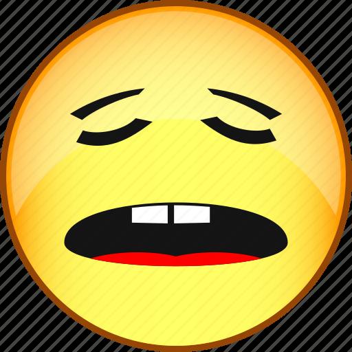 emoji, emoticon, emotion, face, fun, sleepy, smile icon