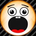 emoji, emoticon, emotion, face, fright, scared, smile icon