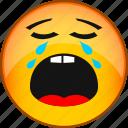 crying, emoji, emoticon, emotion, face, smile, weep icon
