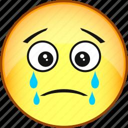 emoji, emoticon, emotion, face, sad, smile, weep icon