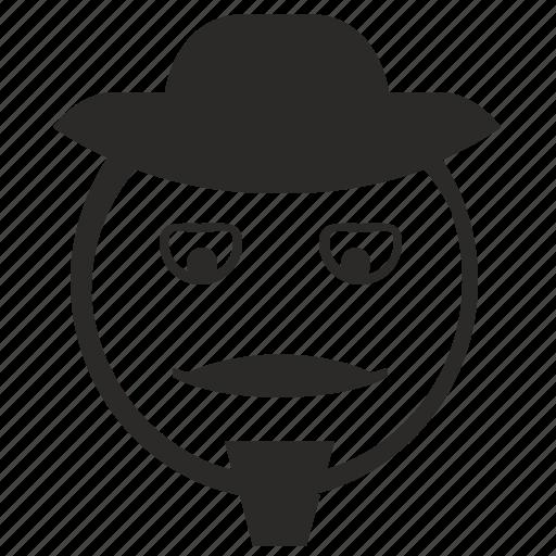 cowboy, face, happy, lucky, man, smiley icon