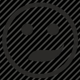 face, ironic, smile, smiley icon