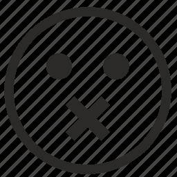 face, quiet, smile, smiley, speak, stop icon