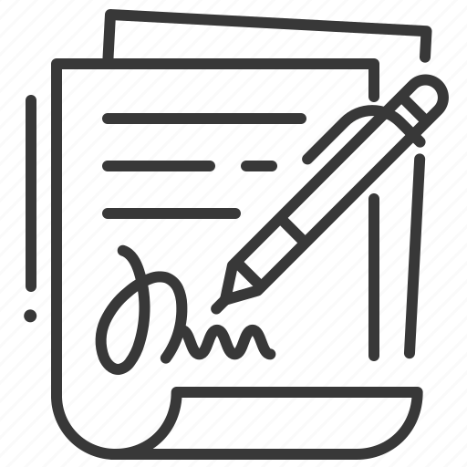 contract, document, pen, signing icon