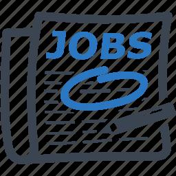employment, find job, jobs, newspaper icon