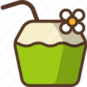 coconut, drink, fruit, juice, summer icon