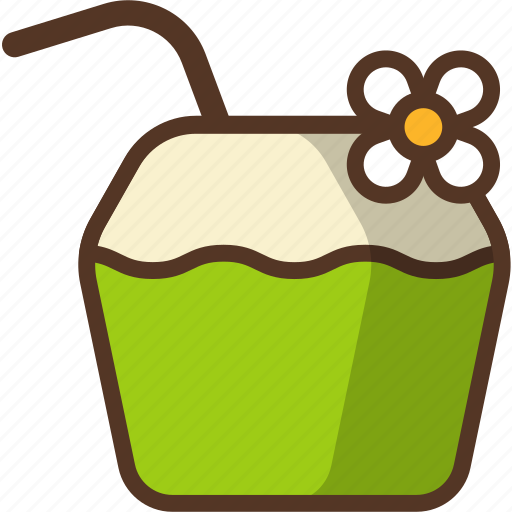 Coconut, drink, fruit, juice, summer icon - Download on Iconfinder