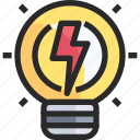 bulb, light, power icon