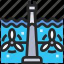 energy, industry, power, tidal icon