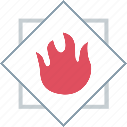 fire, flame, hot, warning icon