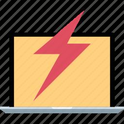 energy, laptop, online, power icon