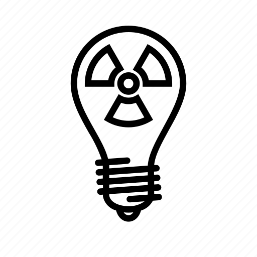 bulb, electric, electricity, energy, light, nuclear icon