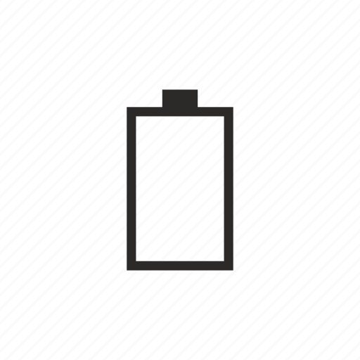 battery, charge, empty, mobile, vertical icon