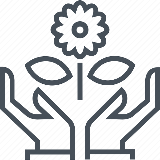 flower, green, guardar, hand, hands, nature, planet, save icon