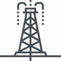 construction, drilling, exploration, oil, pollution, power, tower icon