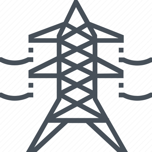 cable, electric, power, tower, voltage icon