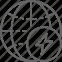 earth, energy, gear, globe, industry, sign, world icon