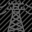 electric, energy, high, industry, line, pylon, voltage icon