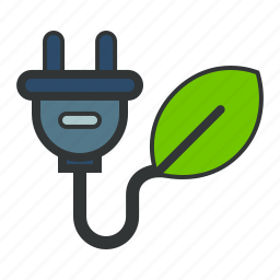 electricity, energy, green icon