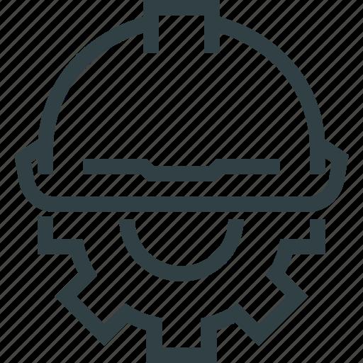 cog, cogwheel, engineering, hat, man, worker icon