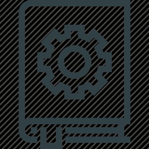 book, cog, cogwheel, settings icon