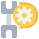 cog, construction, management, process, tool icon