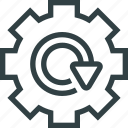 arrow, cogwheel icon