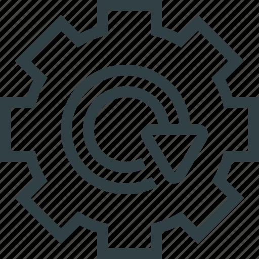 arrow, cogwheel icon