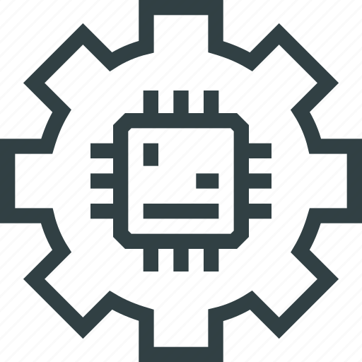 Chip, cogwheel, electronic, engineering, gear, technology icon