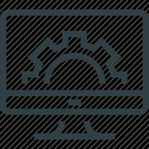 cogwheel, monitor, monitoring, settings icon