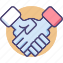agreement, hands, handshake, partnership, shake icon
