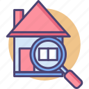 building, check, home, inspect, inspection, magnifying glass icon