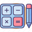 calc, calculations, calculator, math, mathematics, maths, pencil icon
