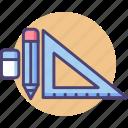 creative, design, eraser, pencil, rubber, ruler, set square icon