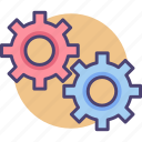 cogs, engineering, gears, machine, moving, parts, wheels icon