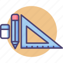 design, eraser, pencil, stationery, triangle ruler icon
