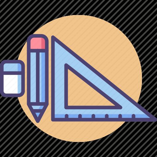 design, eraser, pencil, stationery, triangle ruler icon