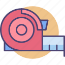 measure, measurement tape, tape, tape measurement icon