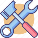 hammer, tools, wrench icon