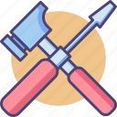 hammer, screwdriver, tools icon