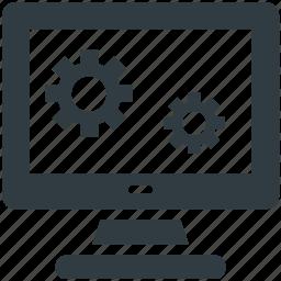 computer display, gears sign, programming, repair concept, website development icon