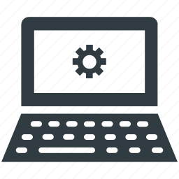 gear sign, laptop screen, programming, repair concept, website development icon