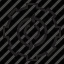 arrows, cog, cogwheel, engineering icon icon