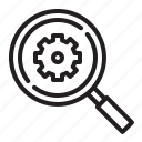 engineering icon, gear, search, setting icon
