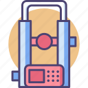 engineering, geodesy, instrument, survey, surveying, telescope, theodolite icon