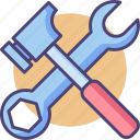 construction, equipment, hammer, maintenance, spanner, tools, wrench icon